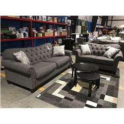 2 PC CONTEMPORARY GREY UPHOLSTERED SOFA & LOVE SEAT SET WITH 4 THROW CUSHIONS