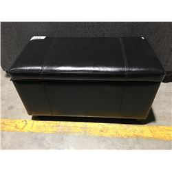 BLACK LEATHER UPHOLSTERED STORAGE TRUNK