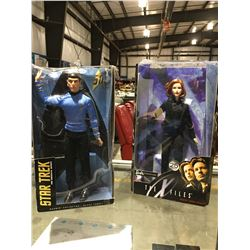 2 ACTION FIGURE DOLLS - STAR TREK SPOCK ORIGINAL SERIES & XFILES DANA SKULLY
