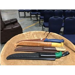 GROUP OF 4 FISHERMANS FILET KNIVES
