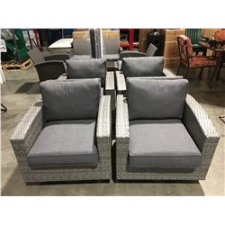 SET OF 4 TWO TONE GREY SWIVEL SPRING ROCKER PATIO LOUNGE CHAIRS