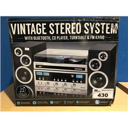 VINTAGE STEREO SYSTEM WITH BLUETOOTH, CD PLAYER, TURN TABLE & FM RADIO