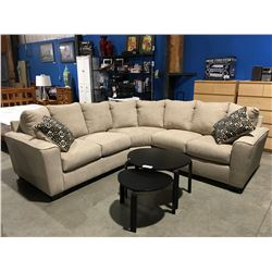 2 PC LIGHT BEIGE UPHOLSTERED SECTIONAL SOFA WITH 2 THROW CUSHIONS