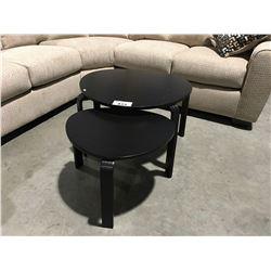 2 PC CONTEMPORARY BLACK FINISH COFFEE TABLE SET
