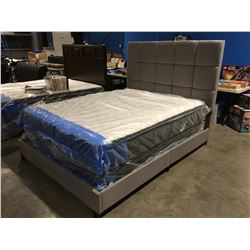 QUEEN SIZE GREY UPHOLSTERED BED - HEADBOARD, FOOTBOARD & RAILS