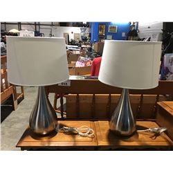 PAIR OF CONTEMPORARY BRUSHED STAINLESS FINISH TABLE LAMPS