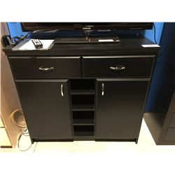 BLACK CONTEMPORARY CABINET WITH 2 DRAWERS & BOTTOM CUPBOARD