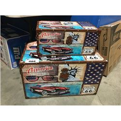 2 PCE AMERICA ROUTE 66 STORAGE BOX SET (LARGE BOX HAS TORN FRONT STRAP)