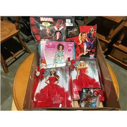 BOX OF KIDS COSTUMES & BARBIE HOLIDAY DOLLS