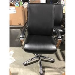 BLACK & CHROME OFFICE CHAIR (SMALL RIP ON LEFT ARM)