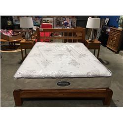 SOLID WOOD CONSTRUCTED MADE IN NEW ZEALAND QUEEN SIZE PLATFORM BED WITH 2 SINGLE DRAWER NIGHT