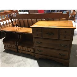 6 PC MAPLE BEDROOM FURNITURE SET - 9 DRAWER DRESSER, 3 DRAWER DRESSER, 2 NIGHT STANDS, HEADBOARD &