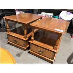 PAIR OF MAPLE SINGLE DRAWER END TABLES