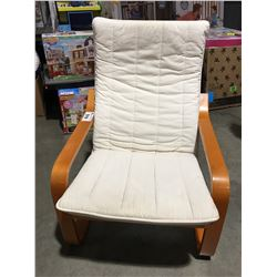 WHITE UPHOLSTERED BENTWOOD CHAIR