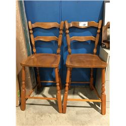 PAIR OF SOLID MAPLE BAR STOOLS