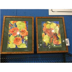 PAIR OF SOLID WOOD FRAMED ORIGINAL WATER COLOR FLORAL PAINTINGS SIGNED