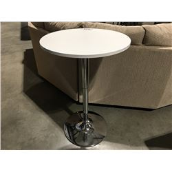 CHROME & WHITE SMALL ROUND ADJUSTABLE HEIGHT TABLE