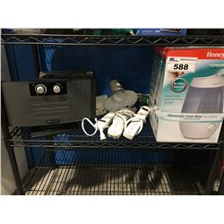 SHELF LOT OF ASS'D ELECTRONICS HUMIDIFIER, BIONAIR HEATER, LAMP, POWER BARS ECT