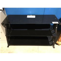 3 TIER GLASS & METAL TV STAND