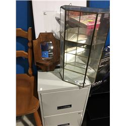 2 DRAWER METAL FILING CABINET, BRASS & GLASS HANGING DISPLAY SHELF, PICTURE FRAME & SMALL WOD