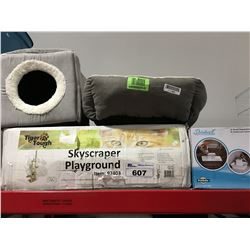 GROUP OF CAT ITEMS - 2 BEDS, SKY SCRAPER PLAY GROUND & WATER DISH