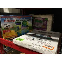 CRITTER TRAIL RUNABOUT HABITAT, SMALL PLAYPEN & BAG OF PAPER BEDDING