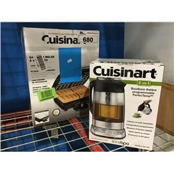 2 CUISINART SMALL KITCHEN APPLIANCES TEA KETTLE & WAFFLE MAKER
