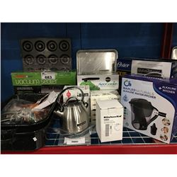 SHELF LOT OF ASS'D SMALL KITCHEN APPLIANCES VACUUM SEALER, ROASTER, KITCHEN AID KETTLE ECT