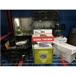 SHELF LOT OF ASS'D SMALL KITCHEN APPLIANCES, BAKING PANS, ROASTERS, GEORGE FORMAN GRILL ECT