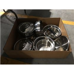 BOX OF MAGNA STAINLESS STEEL COOKWARE POTS & PANS