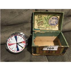 SCHATZ MADE IN GERMANY QUARTZ SHIPS CLOCK & ANTIQUE STARCH BOX