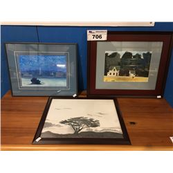 GROUP OF 3 FRAMED ORIGINAL WATER COLOR/CHARCOAL PAINTINGS