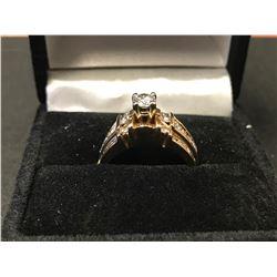 LADIES 14K YELLOW GOLD RING SET CONTAINING 23 DIAMONDS-APPRAISAL $6210.00