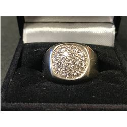 GENTS 10K WHITE & YELLOW GOLD RING CONTAINING 19 DIAMONDS-APPRAISAL $5115.00