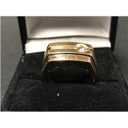 GENTS 10K YELLOW GOLD DIAMOND SOLITAIRE RING - APPRAISAL $3415.00