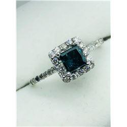 LADIES 14K WHITE GOLD BLUE DIAMOND PRINCESS CUT RING - APPRAISAL $2100.00