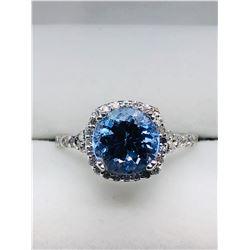 LADIES 14K WHITE GOLD TANZANITE 44 DIAMOND RING - APPRAISAL $2050.00