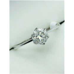 LADIES 10K WHITE DIAMOND SOLITAIRE RING - APPRAISAL $2050.00