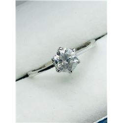 LADIES 10K WHITE DIAMOND SOLITAIRE RING - APPRAISAL $1900.00