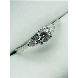 LADIES 14K WHITE GOLD THREE DIAMOND  RING - APPRAISAL $1700.00