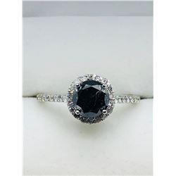 LADIES 14K WHITE GOLD BLACK THIRTY-TWO DIAMONDS  RING - APPRAISAL $1500.00