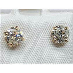 UNISEX 10K YELLOW GOLD DIAMOND SOLITAIRE EARRING - APPRAISAL $1500.00