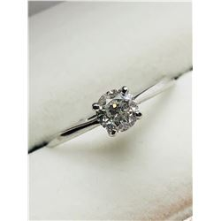 LADIES 10K WHITE GOLD DIAMOND SOLITAIRE RING - APPRAISAL $1500.00