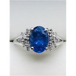 LADIES 10K WHITE GOLD TANZANITE & TEN DIAMOND RING - APPRAISAL $1475.00