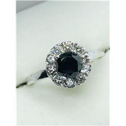 10K WHITE GOLD BLACK ELEVEN DIAMOND RING - APPRAISAL $1300.00