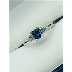 14K WHITE GOLD BLUE THREE DIAMOND  RING - APPRAISAL $1150.00