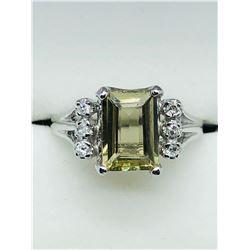 LADIES 10K WHITE GOLD ZULTANITE & SIX DIAMOND RING - APPRAISAL $1075.00