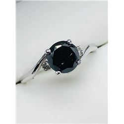 LADIES 14K WHITE GOLD BLACK THREE DIAMOND  RING - APPRAISAL $1025.00