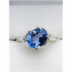 LADIES 10K WHITE GOLD TANZANITE & SIX DIAMOND RING