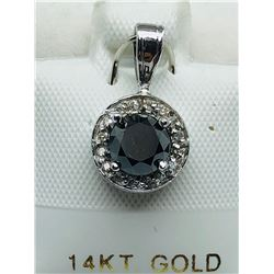 LADIES 14K WHITE GOLD BLACK SEVENTEEN DIAMOND PENDANT